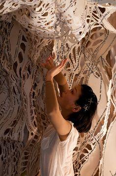 "Saatchi Online Artist Jairo And Nicola; Installation, ""Fragments at the Kentish Town Health Centre (13)"" #art  Performer:  Katsura Isobe  Photo:  Gigi Giannella"