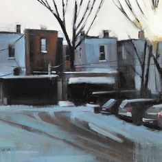 Green Ave.,  Jeremy Price (2013) oil on canvas 18in × 36in × 1in — 1lb Artist Jeremy Price was born and raised in London, Ontario. Upon graduating from the Bealart Vocational Art School he attended the University of British Columbia and the Vancouver Film School.
