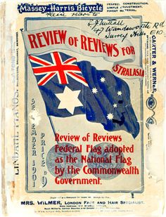 The edition of the Review of Reviews front cover signed by Egbert Nuttall, after the winning designers of the 1901 Federal Flag design competition were announced.