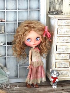Blythe doll outfit *Romance is in the air* vintage style dress