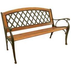 Garden Treasures 25-in W x 50-in L Wood Patio Bench