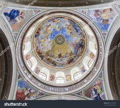 HUNGARY, EGER - JULY The painting on the dome of the Basilica of St. John the Apostle and Evangelist, St. Michael and the Immaculate Conception in the city of Eger