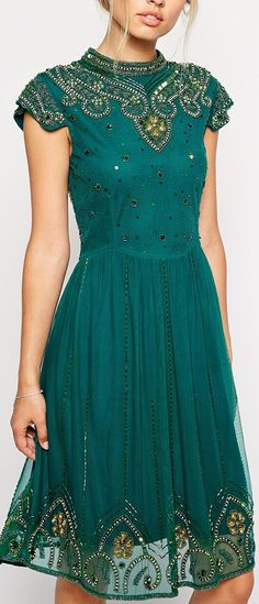 high neck beaded dress