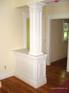 Trim Team NJ Woodwork Fireplace Mantles Home Improvement House Design, Home Living Room, Interior Columns, Home, Pretty House, Half Walls, Walls Room, Moldings And Trim, Half Wall Room Divider
