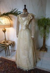 antique evening gown JEANNE HALLE 1899