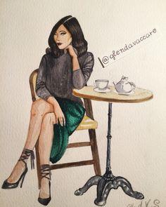 Girl coffee - glenda vaccaro illustration