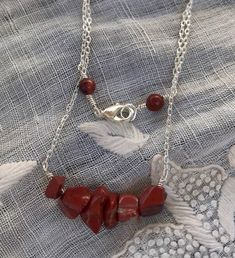 Lobster Claws, Red Jasper, Bar Necklace, Chain, Jewelry, Jewlery, Jewerly, Necklaces, Schmuck
