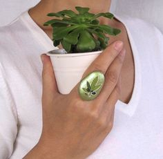 One of a kind Natural stone ring Handmade Green by mammamiaeme, $16.00