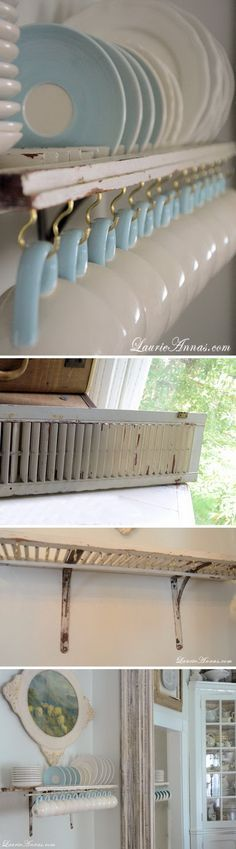 Custom Mug and Plate Rack from Old Shutter. This is so cute and such a good idea.