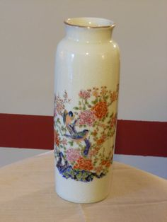 Vintage Porcelain Satsuma 9.75 inch tall vase by RandysGallery