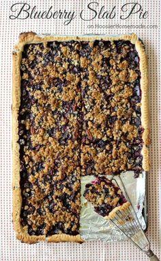Blueberry Slab Pie   Recipe on http://HoosierHomemade.com