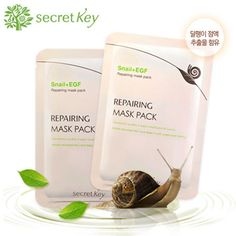 Secret Key Snail Repairing Mask Pack 8SHEETS Facial Moist Bright Nourishment | eBay
