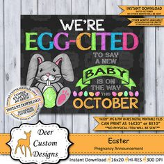 Easter Pregnancy Announcement Photo Prop Pregnancy Poster Baby On The Way, Mom And Baby, October Pregnancy Announcement, Baby Reveal Photos, Pregnancy Signs, New Baby Products, Pregnancy Products, Photo Props, Gender Reveal