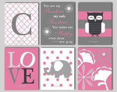 Elephant Nursery Wall Art - Owl Nursery Decor - Love Print - You Are My Sunshine Print - Monogram Print - CHOOSE COLORS - 6 8 x 10 Prints on Etsy, $60.00