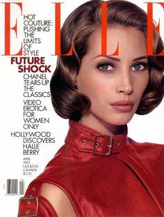 Christy Turlington - Elle US April 1992 Fashion Magazine Cover, Fashion Cover, 90s Fashion, Magazine Covers, Runway Fashion, Vogue Covers, Elle Magazine, Christy Turlington, Famous Models
