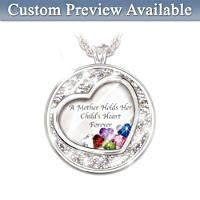 Mother Holds Her Child\'s Heart Personalised Pendant Necklace
