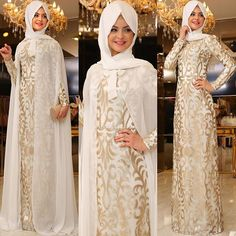 Image may contain: 3 people Islamic Fashion, Muslim Fashion, Modest Fashion, Muslim Wedding Dresses, Muslim Dress, Abaya Designs, Islamic Clothing, Beautiful Hijab, Party Wear