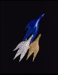 Les Fils d'Eos lapis luzuli brooch by Georges Braque, France, 1963. l Victoria and Albert Museum