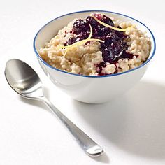 Steel-Cut Oats with Cinnamon-Blueberry Compote Recipe | MyRecipes.com Mobile