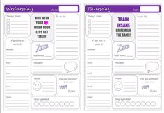 Weekly Fitness Journal Printable  Workout    Fitness