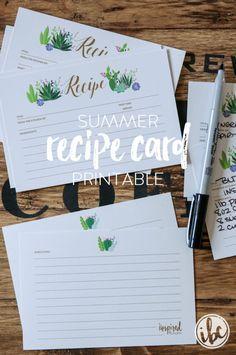 FREE Summer Recipe Card Printable - Download via inspiredbycharm.com