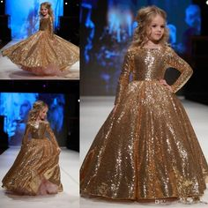 Gold Sequined Little Girls Pageant Desses 2017 Jewel Neck Custom Made Long Sleeve Sparkling Kids Formal Wear Wedding Flower Girl Dresses Flower Girls Dress Pageant Girl Dress Little Princess Dress Online with $99.43/Piece on Alegant_lady's Store | DHgate.com