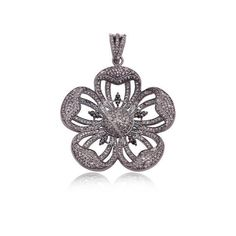 Natural Diamond Pave Flower Design Pendant Sterling Silver Jewelry NEW ARRIVALS #Handmade