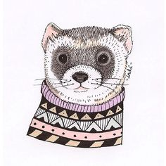Hipster ferret by indi maverick animal art prints for sale in 2019 хорьки, Cute Animal Illustration, Animal Illustrations, Animal Art Prints, Beautiful Sketches, Animal Crafts For Kids, Sad Pictures, Flamingo Print, Art Prints For Sale, Pet Portraits