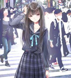 Wallpaper Z - Anime Girls Manga Anime Girl, Cool Anime Girl, Pretty Anime Girl, Beautiful Anime Girl, Kawaii Anime Girl, Awesome Anime, Anime Love, Anime Girls, Anime School Girl