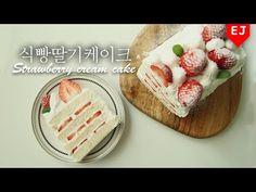 (노오븐베이킹) 식빵 딸기 생크림 케이크 만들기 크리스마스케이크 추천! Strawberry Shortcake (Cream Cake) 이제이레시피/EJ recipe - YouTube