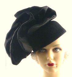 Art Deco 1930s Oh My Black Lava Black Fur Felt by HatArtists, $700.00