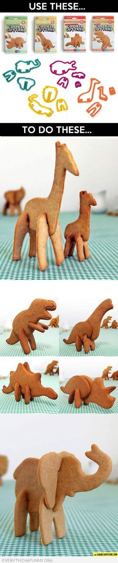 funny 3d animal dinosaur cookie cutters