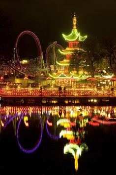 """Daemonen, Tivoli Gardens, Copenhagen Part of the appeal of this ride (whose name is Danish for """"demon"""") is its surroundings, sitting next to the Pagoda in the historic Tivoli Gardens. Its 1,850-feet track was completed in 2004."""