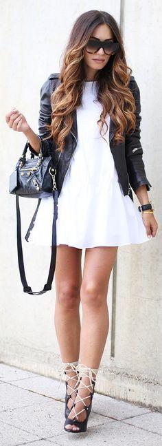 Leather Jacket – Laura Scott @ LookAgain // Dress – Zara // Shoes – Chloe // Sunglasses – Sendoptics // bag – Balenciaga