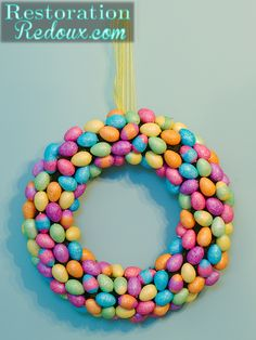 Make an easy Easter wreath from plastic eggs and add some spring color to your front door.