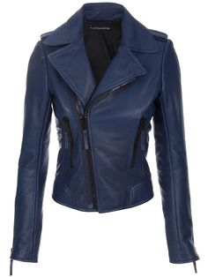 Blue Leather Jacket, Balenciaga