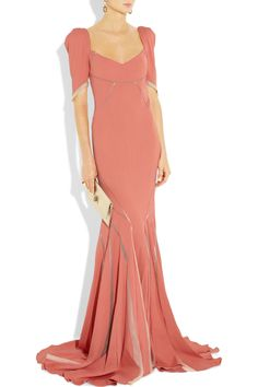 Wish I could afford this to wear to Jena's wedding. ZAC POSEN  Stretch satin-crepe fishtail gown