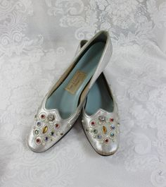 Vintage Woman's Shoes Silver Metallic with Multi-color