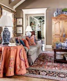 Using Blue and White Accessories to accent design. Home and Studio of Eric Ross Interiors