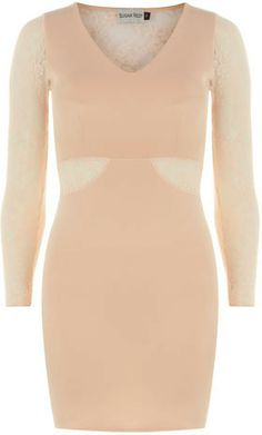 Beige lace bodycon dress