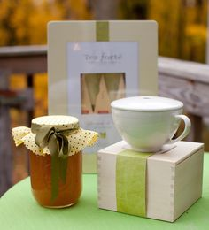 GIVEAWAY: Box of Tea Forte with porcelain tea cup ensemble, and Pear and Vanilla Jam.