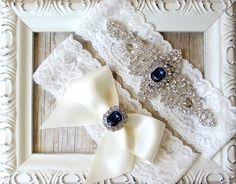 Customizable Garter Set  Crystal Garter Bridal by TheLoveStory