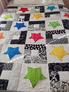 Stars Bright Confetti Appliqued by QuiltedGrandmother on Etsy
