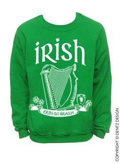 Irish Erin Go Bragh St. Patricks Day Sweater Green by DentzDenim