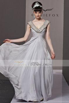 Creative Fox Low VNeck Grey Long Prom Ball Dress by HotKiss, $356.00