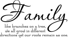 Family Love | 14     Family like branches on a tree, we all grow in different directions yet roots remains as one