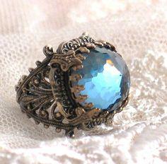 Rare Vintage Steel Blue Jewel Filigree Ring - King's Crown by Lorelei Designs