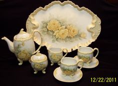 Tea set - hand painted yellow roses