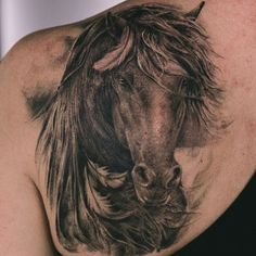 Realistic Horse Shoulder Tattoo | Venice Tattoo Art Designs