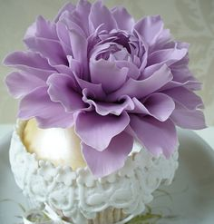 Large Purple Dahlia Cupcake